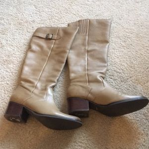 Camel leather tall boots